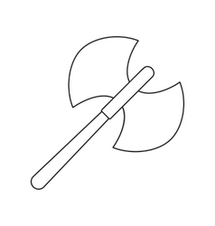Ancient battle double axe thin line icon vector image