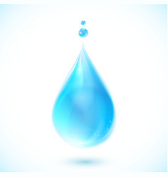 Blue water drop on white background vector image