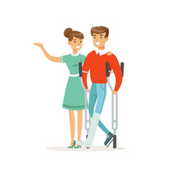 couple of young people man with broken leg vector image vector image