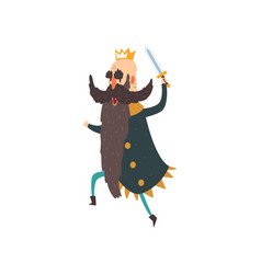 funny king character running with sword cartoon vector image