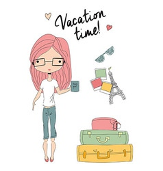 Girl holding a passport standing next to suitcases vector image