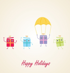 Happy gifts presents waving and being excited vector image