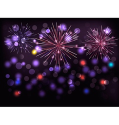 Holiday background with colorful fireworks Happy vector image vector image