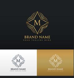 Letter m golden line art monogram logo vector