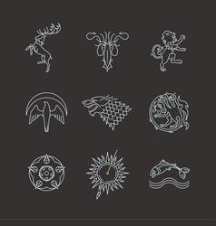 line heraldic animals gaming thrones symbols vector image vector image