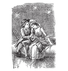 shepherdess and chimney-sweep vintage vector image vector image