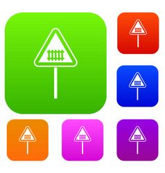 warning road sign set collection vector image