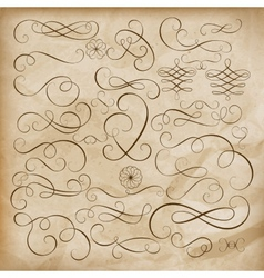 Calligraphic design elements Set EPS 10 vector image