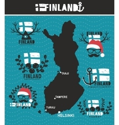 Creative geographic map of finland vector