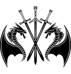 dragons and swords stencil vector image vector image