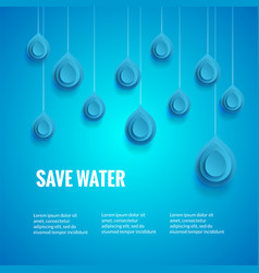 eco design template save the water poster blue vector image vector image
