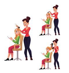 Hairdresser cutting dying drying hair for woman vector