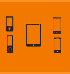 mobile phones and tablets on an orange background vector image vector image