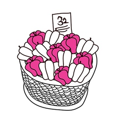 The peppers in the basket vector image
