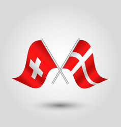 two crossed swiss and danish flags on silve vector image vector image