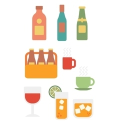Various glasses and bottles of alcohol and cups of vector image