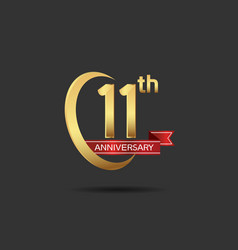 11 years anniversary logo style with swoosh ring vector