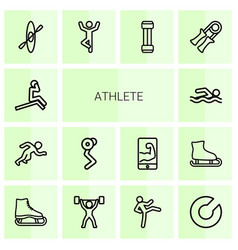 14 athlete icons vector