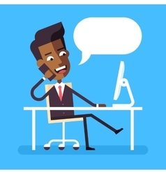 African american man sitting at desk with phone vector image