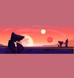 Alien planet landscape dusk or dawn desert surface vector