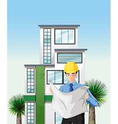 An engineer outside the tall building vector