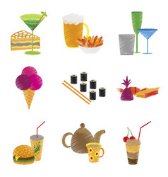 assembly flat shading style icons food vector image