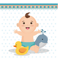 Baby shower card with little boy vector