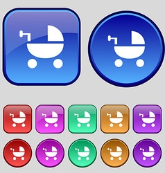 Baby Stroller icon sign A set of twelve vintage vector image