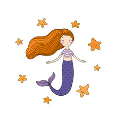 Beautiful little mermaid and starfish siren sea vector