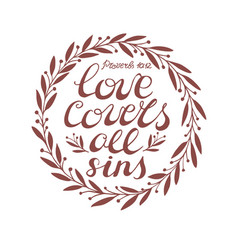 Biblical background with hand lettering love vector