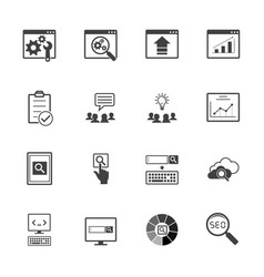 big data icons set seo concept vector image