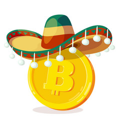 bitcoin in mexican hat cartoon digital currency vector image
