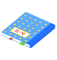Blue hardback dictionary isometric image vector