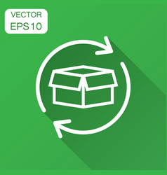 box package return icon in flat style delivery vector image