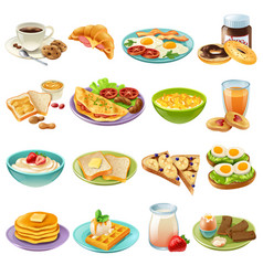 Breakfast brunch menu food icons set vector
