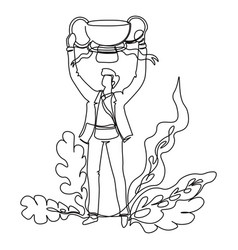 business success businessman with trophy cup vector image