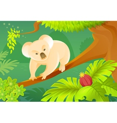 Cartoon koala on a jungle background vector image