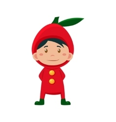 Child Wearing Costume of Red Apple vector