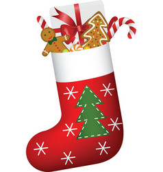 christmas sock full gifts vector image