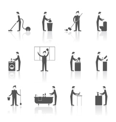 Cleaning People Set vector image