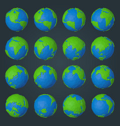 Collection planet earth icons in modern low vector