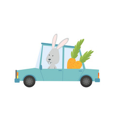 colored kids transport with cute little bunny vector image