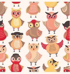 colorful seamless pattern with funny smart owls on vector image