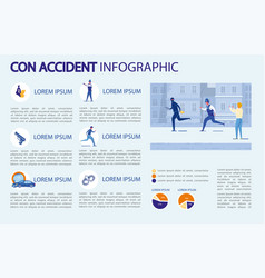 Con accident infographic police and street victim vector