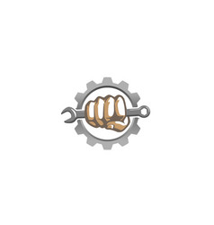 Creative mechanic gear hand wrench logo design vector