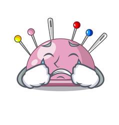Crying sewing pins and pincushion on mascot vector