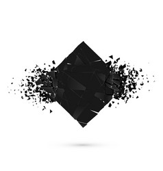 Cube destruction squared black banner with space vector