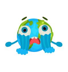 cute cartoon unhappy earth planet emoji crying vector image
