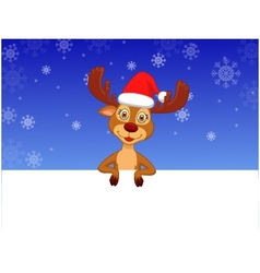 Cute deer with blank sign vector