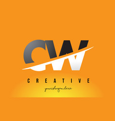 cw c w letter modern logo design with yellow vector image